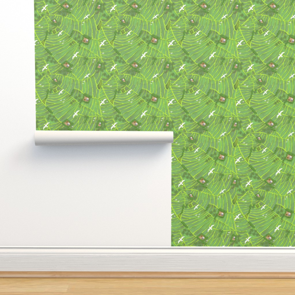 Isobar Durable Wallpaper featuring Rice Fields Big Birds 21 inch by vinpauld