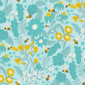 Bees in a Blue Garden