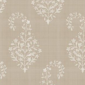 WOVEN Painted Paisley WHITE on BEIGE