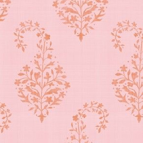 WOVEN Painted Paisley ORANGE on PINK