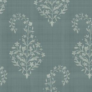 WOVEN Painted Paisley Deep Sage and Cream