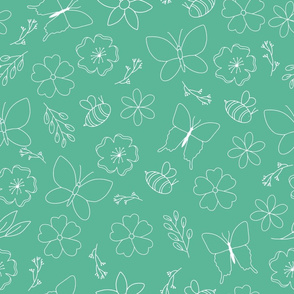 White flower and wings outline on teal