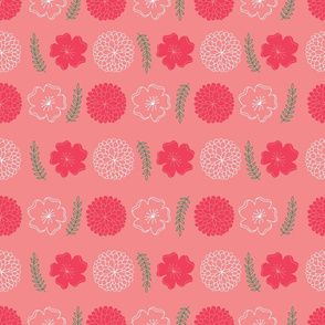Flowers and leaves in Pink