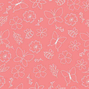 White flower and wings outline on pink