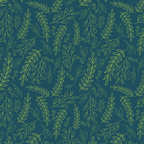 Leaves on a Teal Background