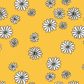 Little daisy garden boho spring daisies in trend colors yellow white ochre