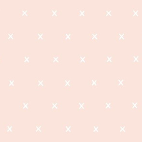 hand drawn x cross crosses organic fabric gift wrap wallpaper pale pink