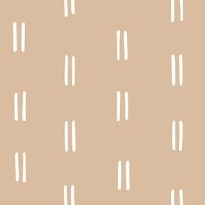 hand drawn vertical double dash organic stripes striped lines fabric gift wrap wallpaper tan brown earth tone clay