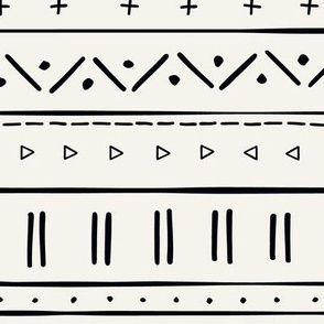 2 // african inspired mudcloth fabric wallpaper gift wrap mud cloth fabric black on bone off white