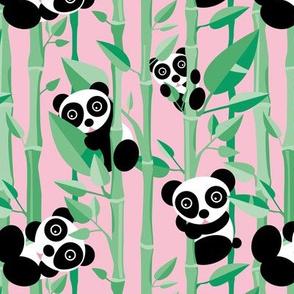 Cute little panda forest bamboo trees lush asian garden design pink green girls