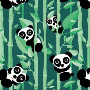 Cute little panda forest bamboo trees lush asian garden design green boys