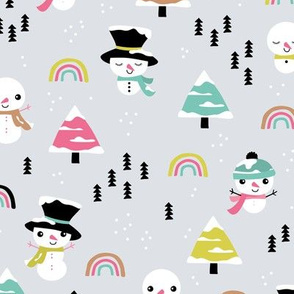 Little winter rainbows and snowy snowman pine trees christmas holiday baby colorful kawaii