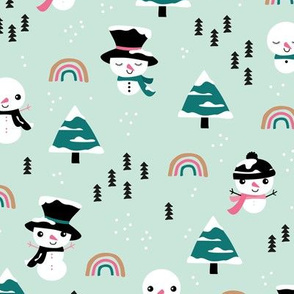 Little winter rainbows and snowy snowman pine trees christmas holiday mint pink girls
