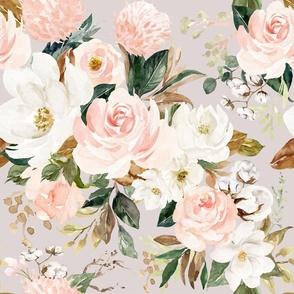 "21"" Vintage Magnolia Florals // Swiss Coffee"