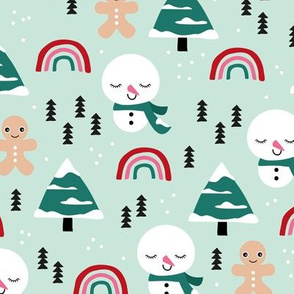 Little winter rainbows and snowy snowman and gingerbread men pine trees christmas holiday mint pink girls