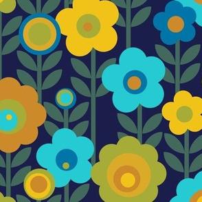 Marguerite* (Television Blue) || vintage sheet mod 70s 60s flower floral leaves stem garden spring summer