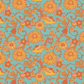 Birds and Flowers - teal