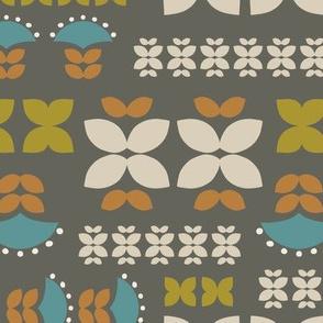 Folk flowers grid-brown