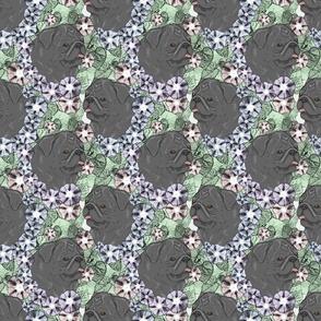 Floral Black Pug portraits
