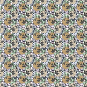 Floral Fawn Pug portraits - small