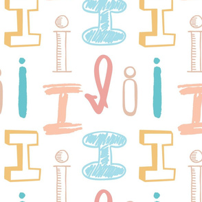 Letter I Mixed  Pastels - Yellow, Teal, Aqua Blue, Beige, Peach, Salmon Pink