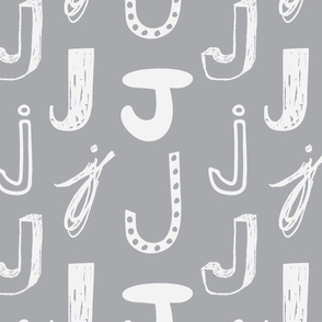 Letter J 12 Grey and Light Grey