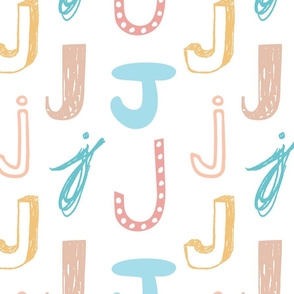 Letter J Mixed Pastels - Blue, Tan, Teal, Yellow, Pink, Peach