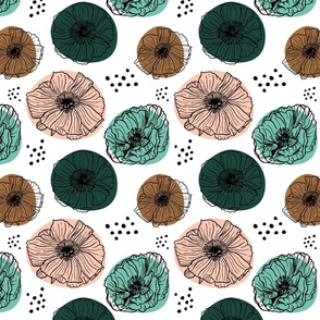 Poppies - Mint and Green