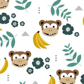 Summer monkey banana jungle palm leaves and flowers green yellow boys