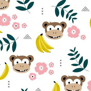 Summer monkey banana jungle palm leaves and flowers green yellow pink girls