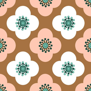 Geometric flower, Poppy oriental pink and white