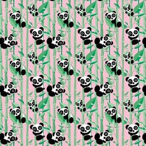 Cute little panda forest bamboo trees lush asian garden design pink green girls SMALL