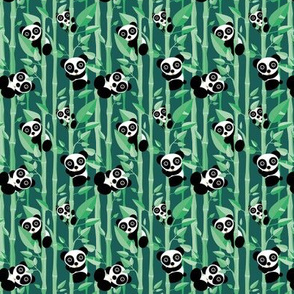 Cute little panda forest bamboo trees lush asian garden design green boys SMALL