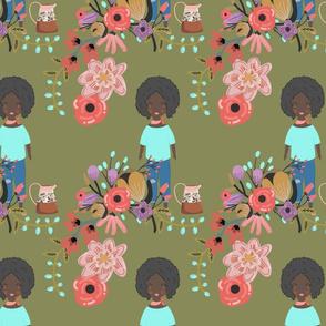 African American Girl in Garden