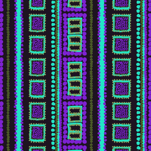 Tribal Squares and Dots - Purple and Teal