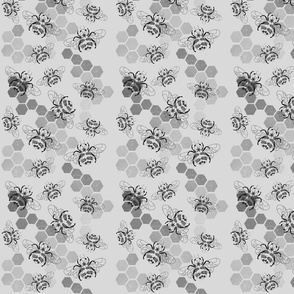 Grey scale bees and honey