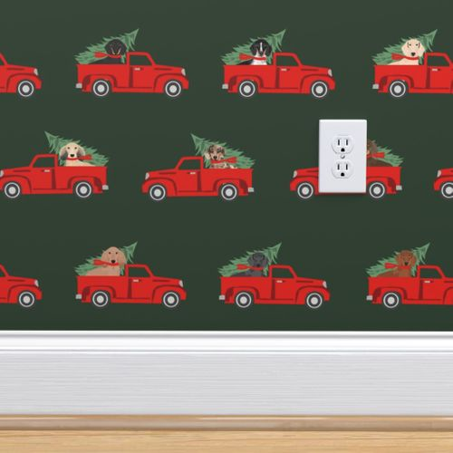 8941560 christmas dachshund red truck fabric cute doxie fabric cute dachshund fabric dog fabric dog design da by petfriendly