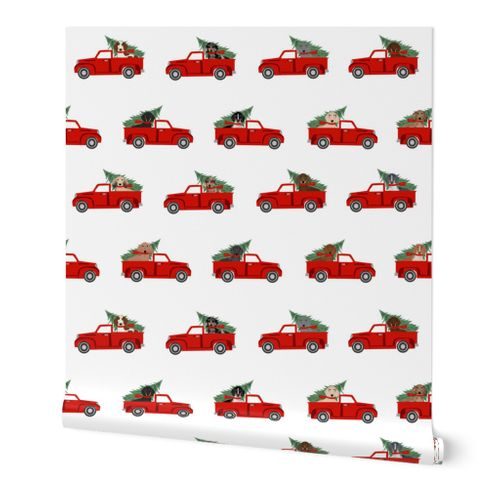 8941571 christmas dachshund red truck fabric cute doxie fabric cute dachshund fabric dog fabric dog design re by petfriendly