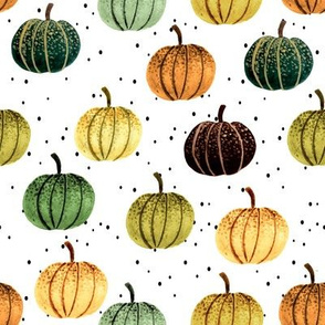 Fall Pumpkins // White with Black Dots