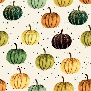 Fall Pumpkins // Spanish Cream with Black Dots