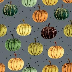 Fall Pumpkins // Blue Gray with Black Dots