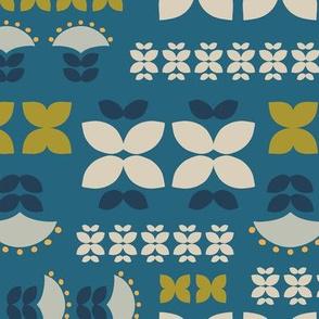 Folk flowers grid-blue