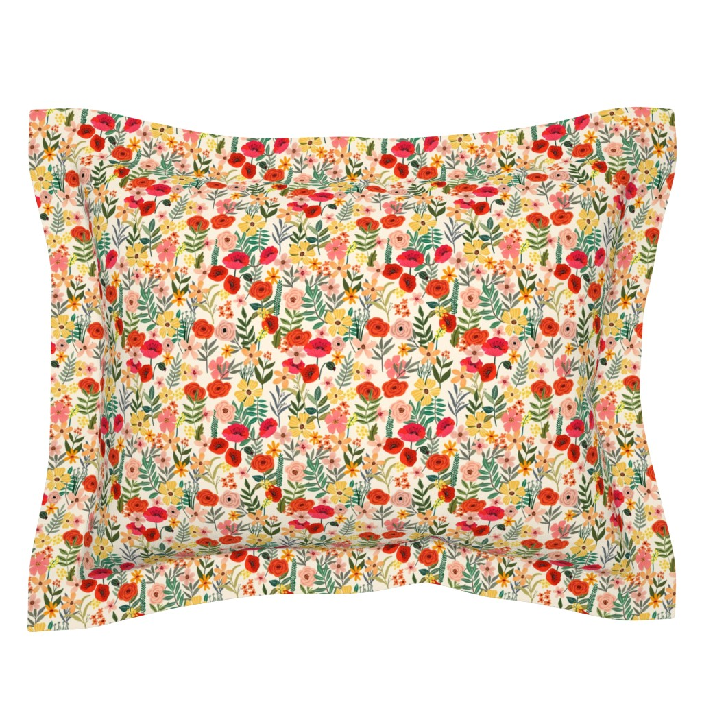 """Sebright Pillow Sham featuring 7"""" Country Flowers - Ivory by miacharro"""