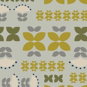 Folk flowers grid - green