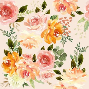 Fall Blossom Florals // Peach White