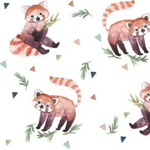 RED PANDAS WATERCOLOR TRIANGLE
