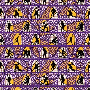 Players and Nets Basketball in Purple and Gold Small Scale