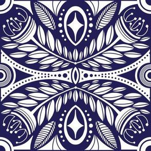 Geometric Navy Leaf