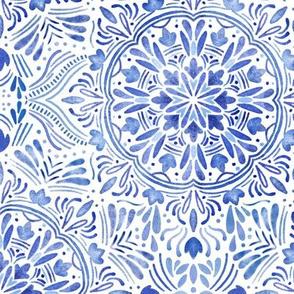 blue watercolor mandala