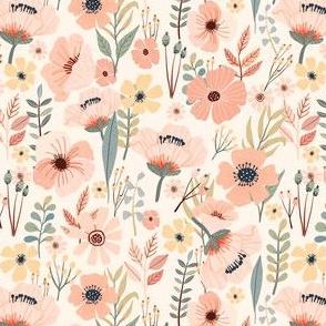 """5"""" Soft Pink Garden - Ivory"""